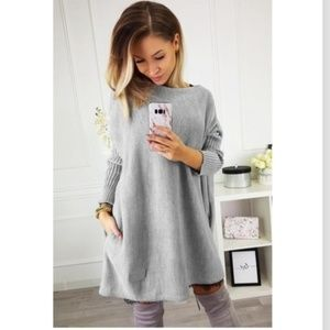 Oversized Batwing Sleeve Sweater Dress